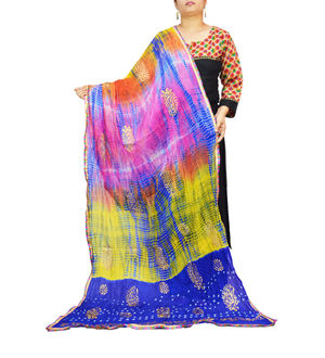 Bandhani Blue Multi Color Silk Dupatta