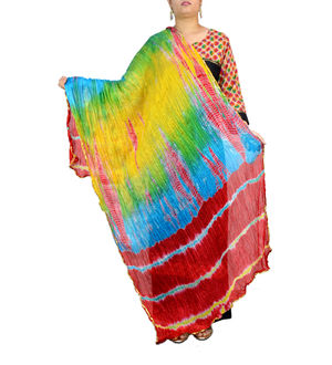Bandhani Maroon Blue Multi Color Silk Dupatta