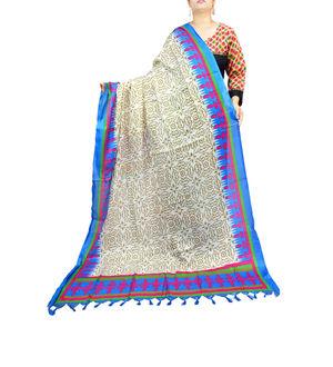 Art Silk Bhagalpuri Beige Blue Dupatta