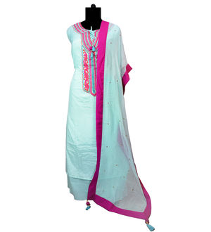 Blue Modal Cotton Embroidered Cotton Suit With Stole