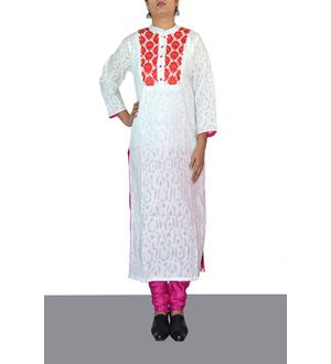White Formal Neck Embroidered Cotton Kurti