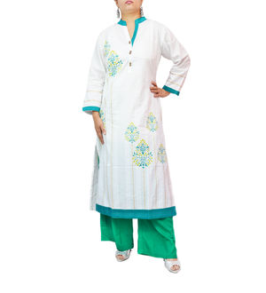 Cotton Green White Floral Printed Kurti