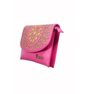 Glamorous Pink Green Sling Bag From Elegance