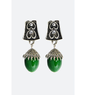 Green Silver Metal Danglers And Drop