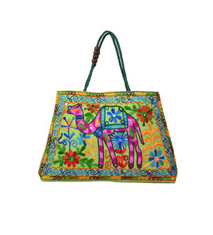 Handicraft Ethnic Embroidered Green Handbag