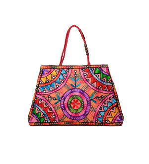 Handicraft Ethnic Embroidered Red Handbag
