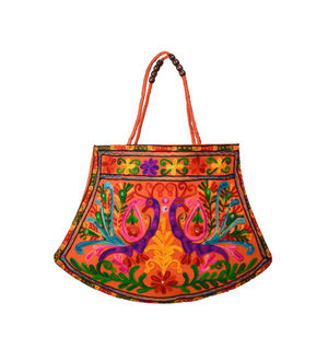 Handicraft Ethnic Embroidered Rust Handbag