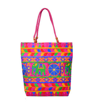 Handicraft Ethnic Multi Embroidered Magenta Handbag