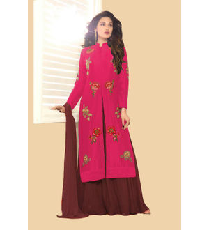 Magenta Brown Color Glace Cotton Embroidered Top With Dual Bottom Bangalori Skirt