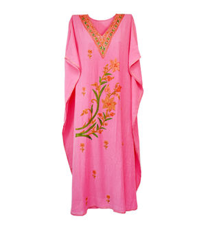 Kashmiri Light Pink Embroidered Cheese Cotton Kaftan