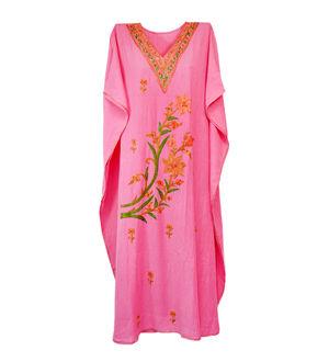 Kashmiri Light Pink Embroidered Cheese Cotton Kaftan