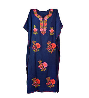Kashmiri Navy Blue Embroidered Cheese Cotton Kaftan