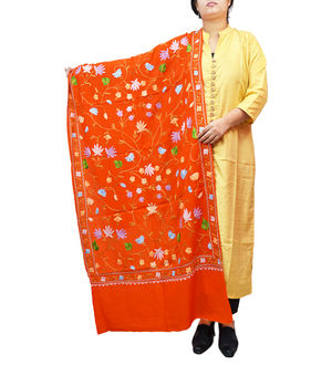 Kashmiri Orange Floral Aari Work Emberidered 100% Pure Wool Stole