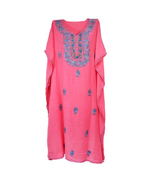 Kashmiri Pink Embroidered Cheese Cotton Kaftan