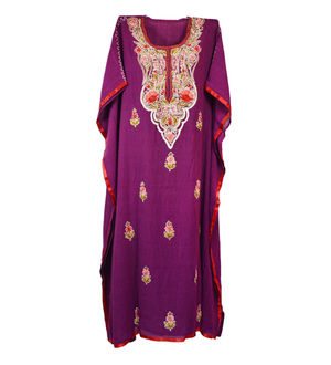 Kashmiri Purple Embroidered Cheese Cotton Kaftan