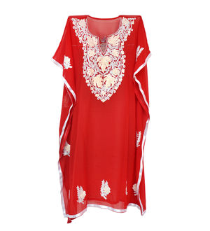 Kashmiri Red Embroidered Georgette Kaftan