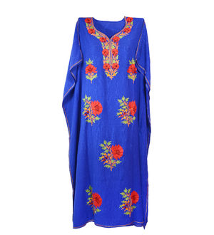 Kashmiri Royal Blue Embroidered Cheese Cotton Kaftan
