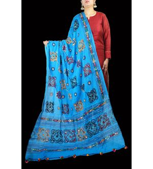 Aariwork Cotton Kutchi Mirror work Sky Blue Dupatta