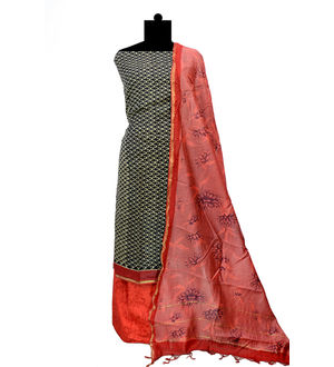 Maheshwari Cotton Black  Maroon Suit With Maeshwari Dupatta