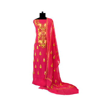 Magenta Kashmiri Aari Work Pure Georgette Suit With Dupatta