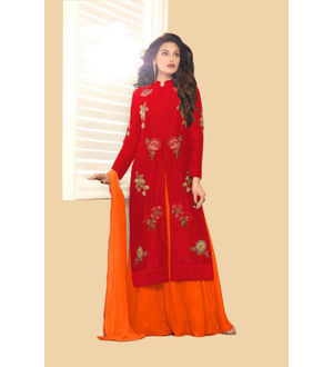 Maroon Orange Color Glace Cotton Embroidered Top With Dual Bottom Bangalori Skirt