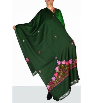 Green Semi Pashmina Kashmiri Aari Work Stole