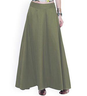 Olive Green Silk Long Skirt