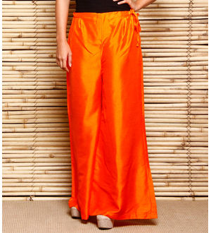 Orange Art Silk Palazzo