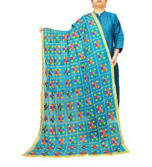 Artistic Blue Phulkari Dupatta
