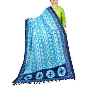 Bhagalpuri Silk Blue Printed Dupatta