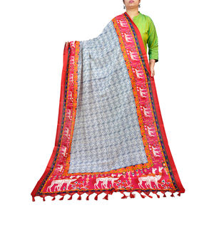Bhagalpuri Silk Red Magenta Tribal Printed Dupatta