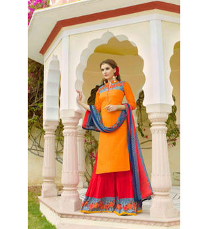Pure Cotton Orange Red Suit With Heavy Cotton Skirt