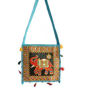 Aqua Blue Elephant Embroidered Shoulder Bag