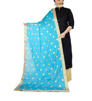 Aqua Blue Golden Khadi Work Chiffon Dupatta