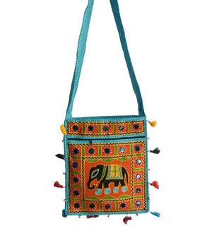 Aqua Blue Hand Embroidered Multi Color Shoulder Bag