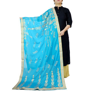 Aqua Blue Khadi Work Chiffon Dupatta