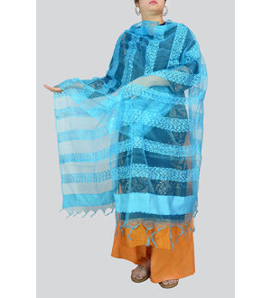 Aqua Blue Transpatent Full Work Dupatta