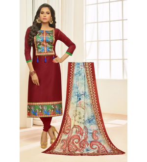 Artistic Maroon Glase Cotton Suit With Silk Printed Dupatta
