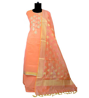 Banarsi Embroidered Peach Color Suit With Banarsi Dupatta
