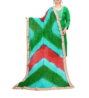 Bandhani Green Multicolor Dupatta