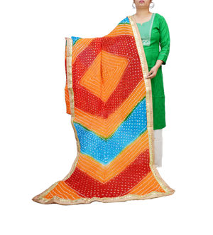Bandhani Orange Multicolor Dupatta