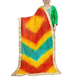 Bandhani Yellow Multicolor Dupatta