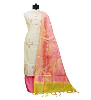 Beige Magenta Maheshwari Suit With Banarsi Work Dupatta