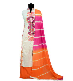 Beige Orange Embroidered Cotton Suit With Pure Chiffon Dupatta