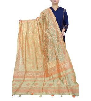 Beige Orange Khadi Work Silk Dupatta