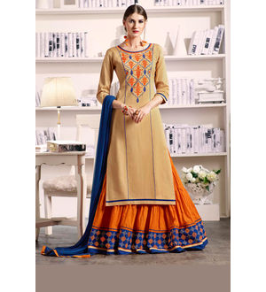 Beige Orange Lengha Style Pure Cotton Suit With Dupatta