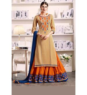 Beige Orange Lengha Style Pure Cotton Suit With Dupatta