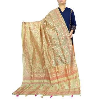 Beige Pink Color Khadi Work Silk Dupatta