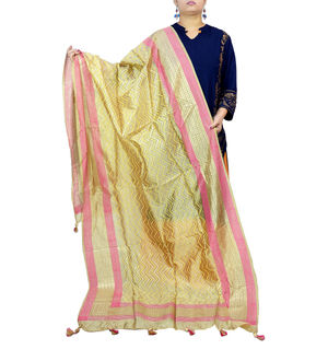 Beige Pink Golden Khadi Work Silk Dupatta