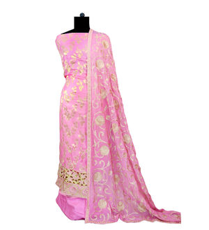 Berberry Golden Embroidered Pink Designer Suit